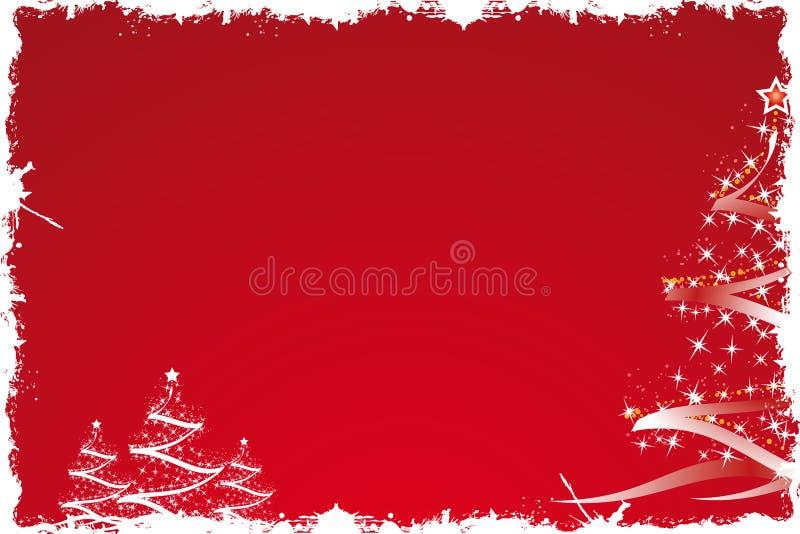 Árvore de Natal no vermelho ilustração stock
