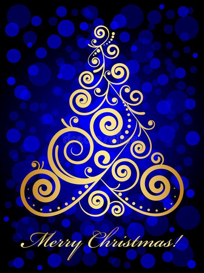 Árvore de Natal ornamentado do ouro ilustração do vetor