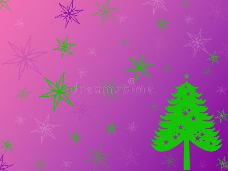 Árvore de Natal pintada verde, flocos de neve verdes, roxos em um lila ilustração royalty free