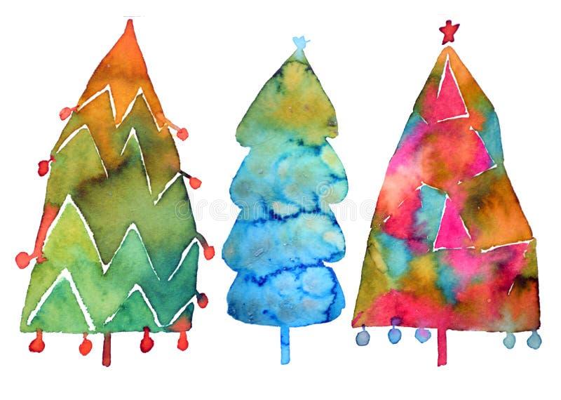 Árvore de Natal Pintura da aguarela Isolado no fundo branco Projete árvores de Natal do feriado para o papel de envolvimento, boo ilustração stock