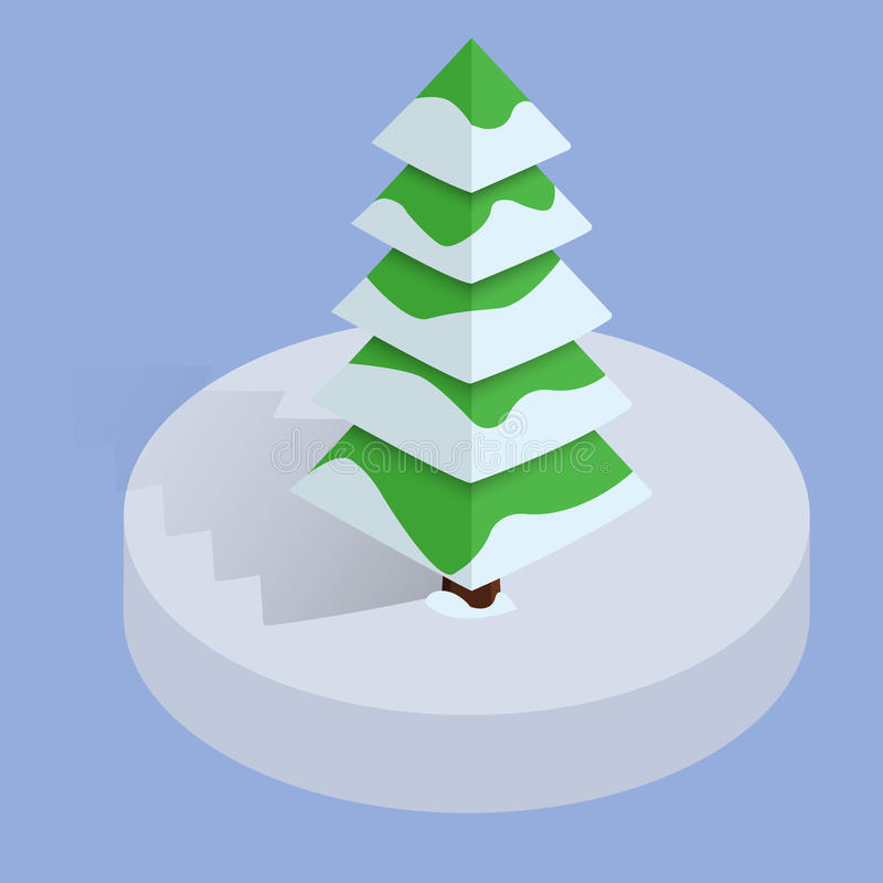 Árvore de Natal poli do inverno isométrico baixa Projeto 3d liso do vetor ou elemento infographic ilustração royalty free