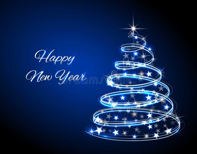 Árvore de Natal Redemoinho das luzes de néon Linha de incandescência da decoração para o cartão do xmas, bandeira Ilustração do v ilustração royalty free