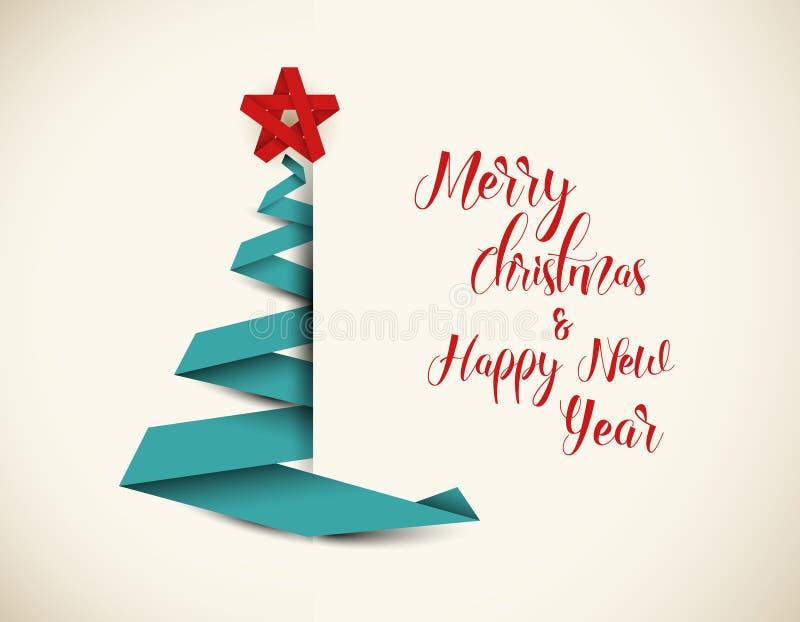Árvore de Natal retro feita da listra do papel verde ilustração do vetor