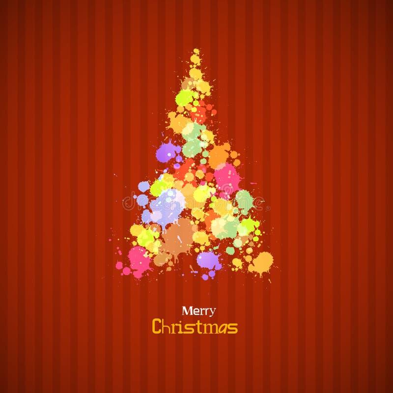 A árvore de Natal retro feita de espirra ilustração stock