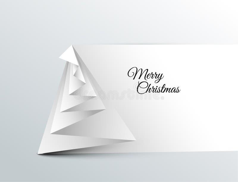 Árvore de Natal simples do vetor feita do papel ilustração stock