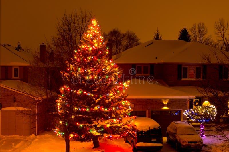 Árvore de Natal suburbana fotos de stock royalty free