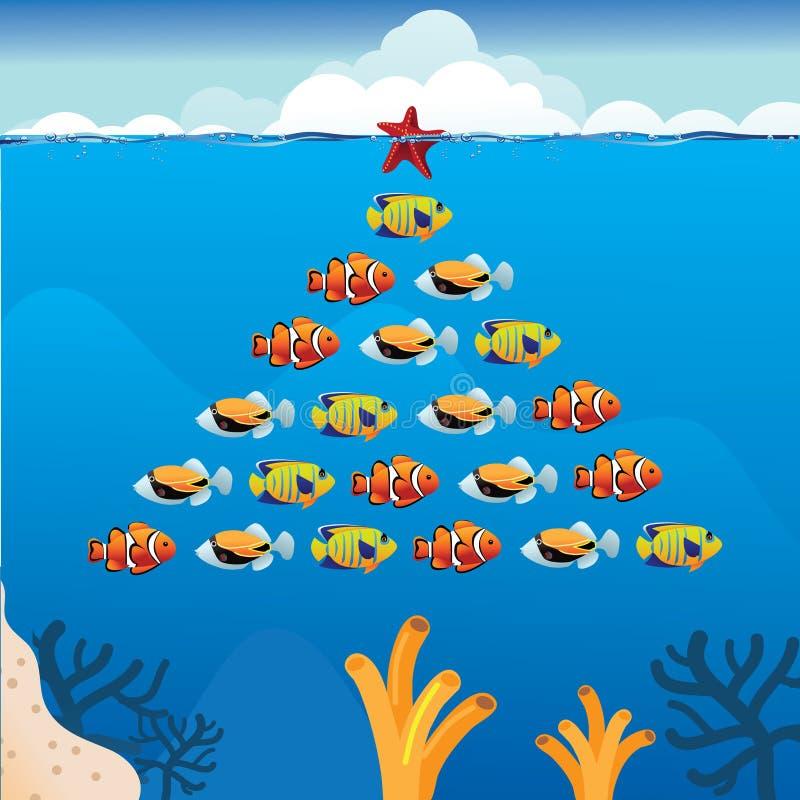 Árvore de Natal tropical dos peixes ilustração stock