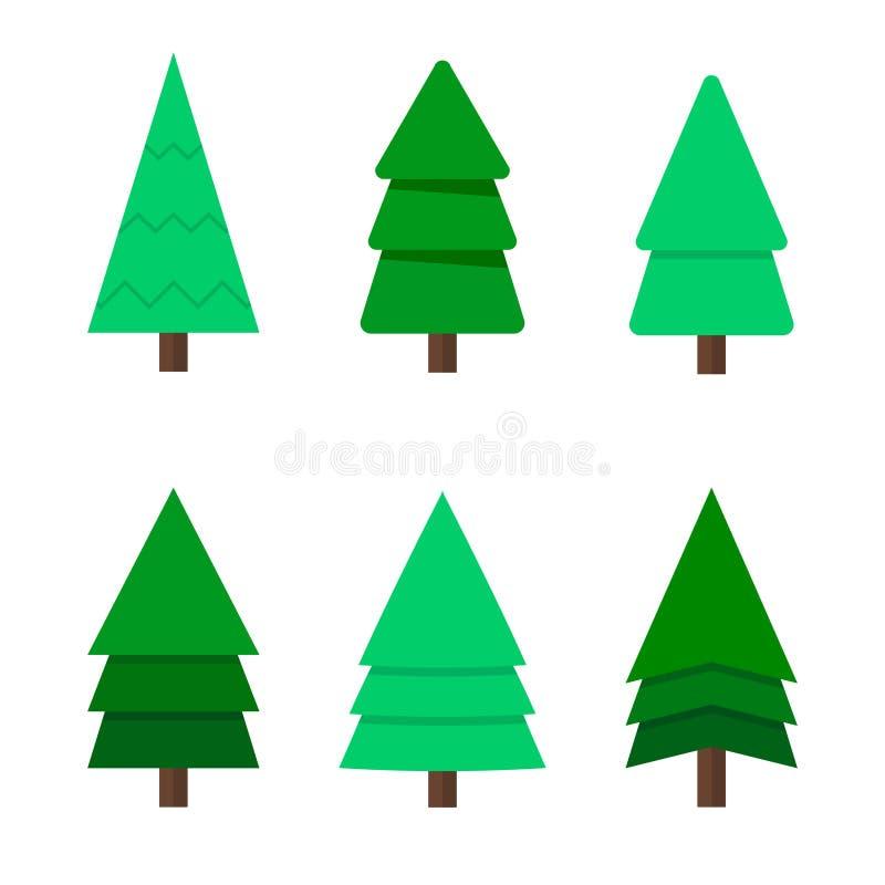 Árvore de Natal, um grupo de seis árvores de Natal verdes Uma árvore de Natal dos desenhos animados Projeto liso, vetor ilustração royalty free