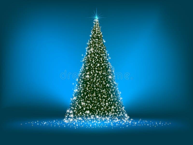 Árvore de Natal verde abstrata no azul. EPS 8 ilustração stock