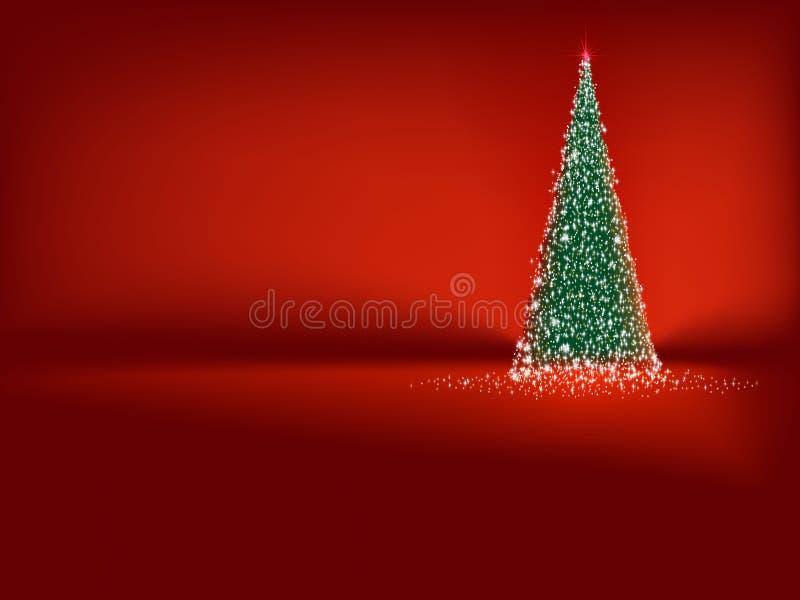 Árvore de Natal verde abstrata no vermelho. EPS 10 ilustração stock
