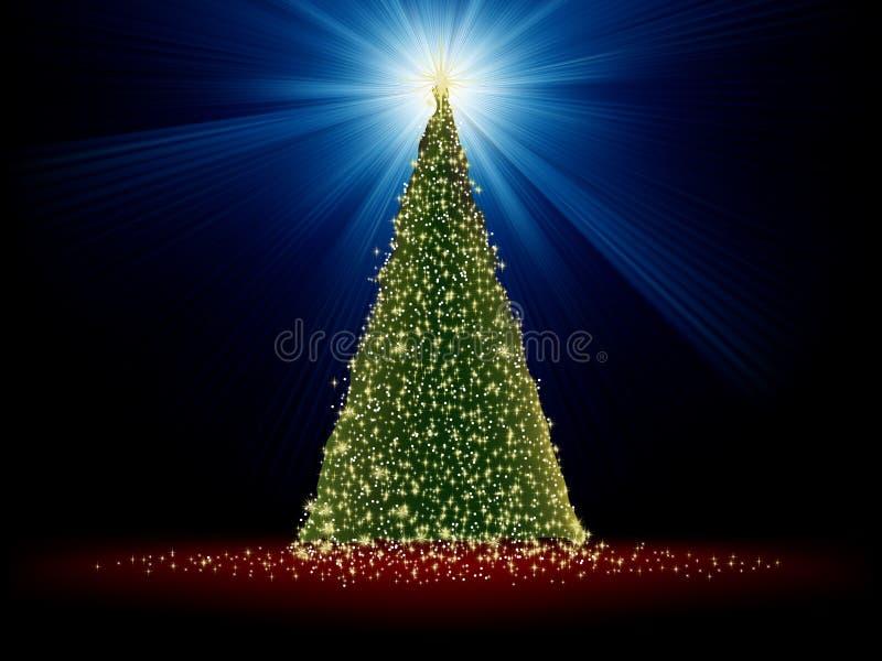 Árvore de Natal verde abstrata no vermelho. EPS 8 ilustração do vetor