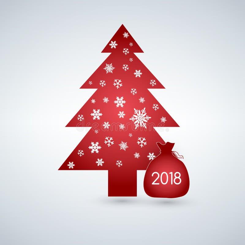 Árvore de Natal vermelha com os flocos de neve e o saco atual, bonitos para seu projeto ilustração royalty free