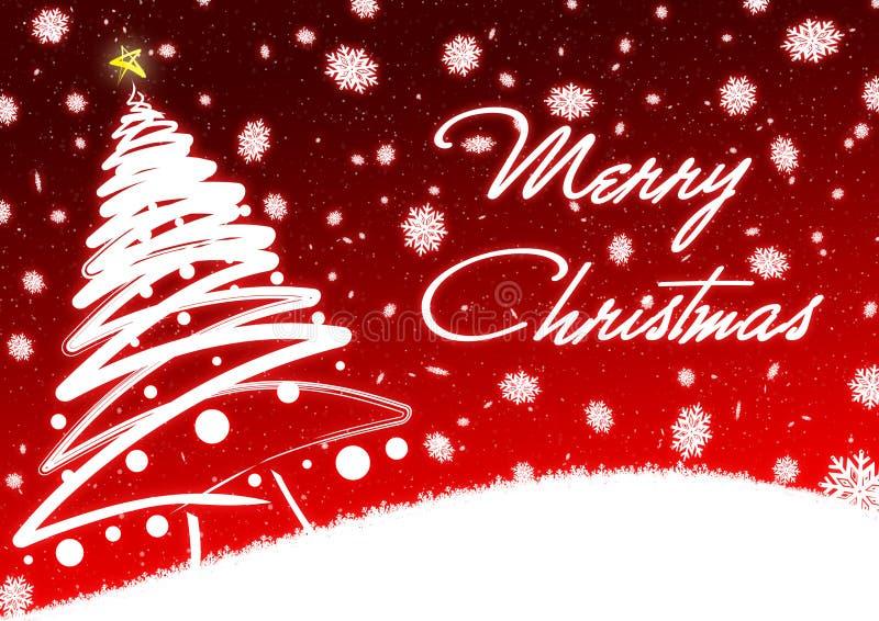 Árvore de Natal vermelha no cartão do fundo da neve ilustração do vetor