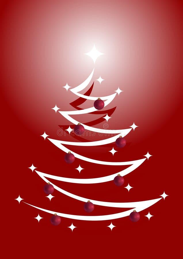 Árvore de Natal vermelho & branco com ornamento ilustração stock