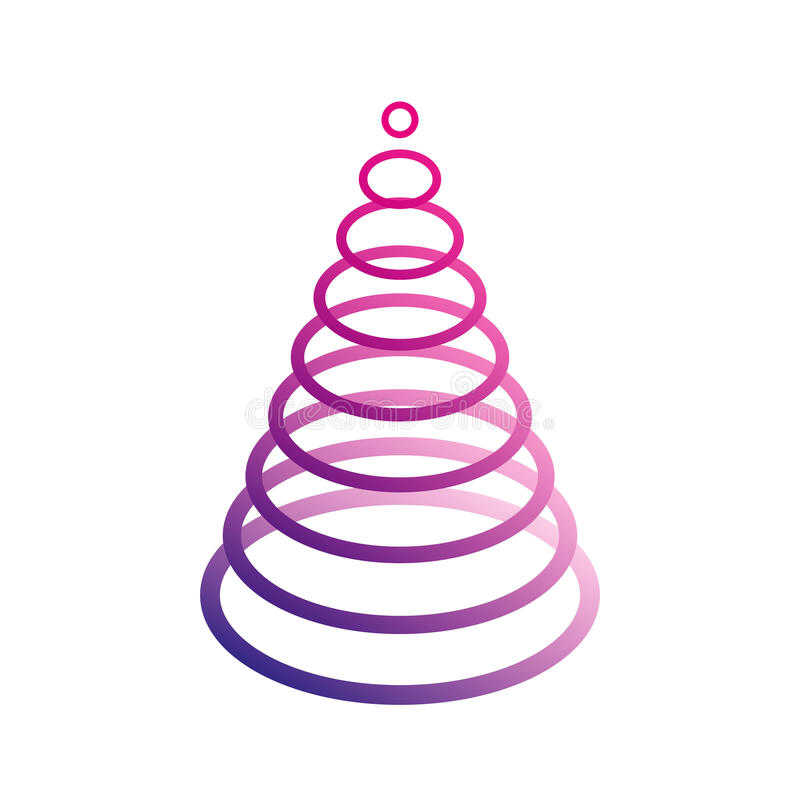 Árvore de Natal violeta oval simples ilustração do vetor