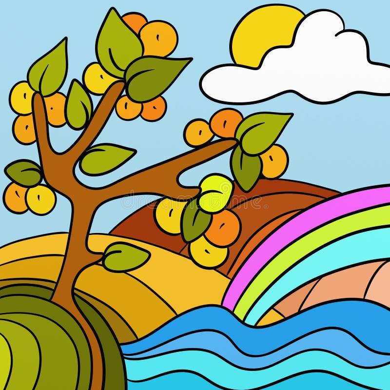 Árvore de pêssego ilustração do vetor