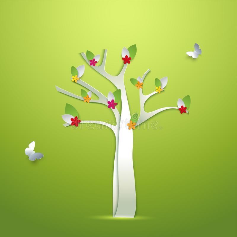 Árvore de papel abstrata da mola com flores e cartão da borboleta ilustração do vetor