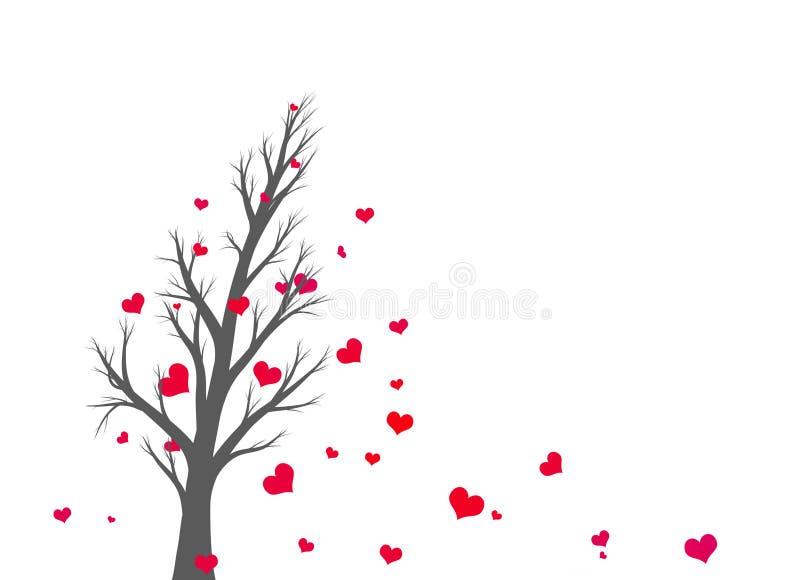 A árvore de prata isolada bonita com forma vermelha do coração sae ilustração do vetor