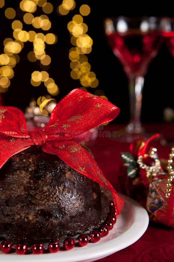 Árvore de pudim e de Natal de ameixa imagens de stock royalty free