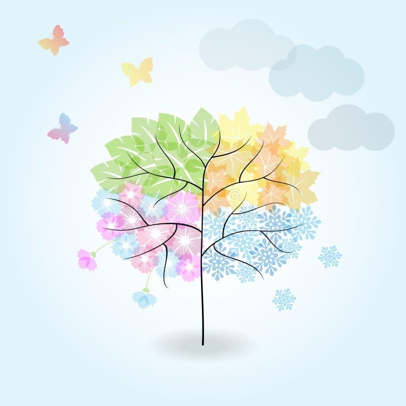 Árvore de quatro estações: mola, verão, outono, inverno ilustração royalty free