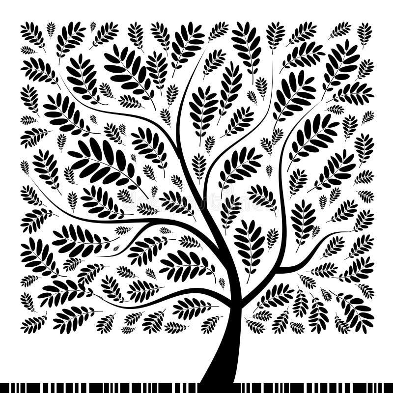 Árvore de Rowan da arte bonita para seu projeto ilustração stock