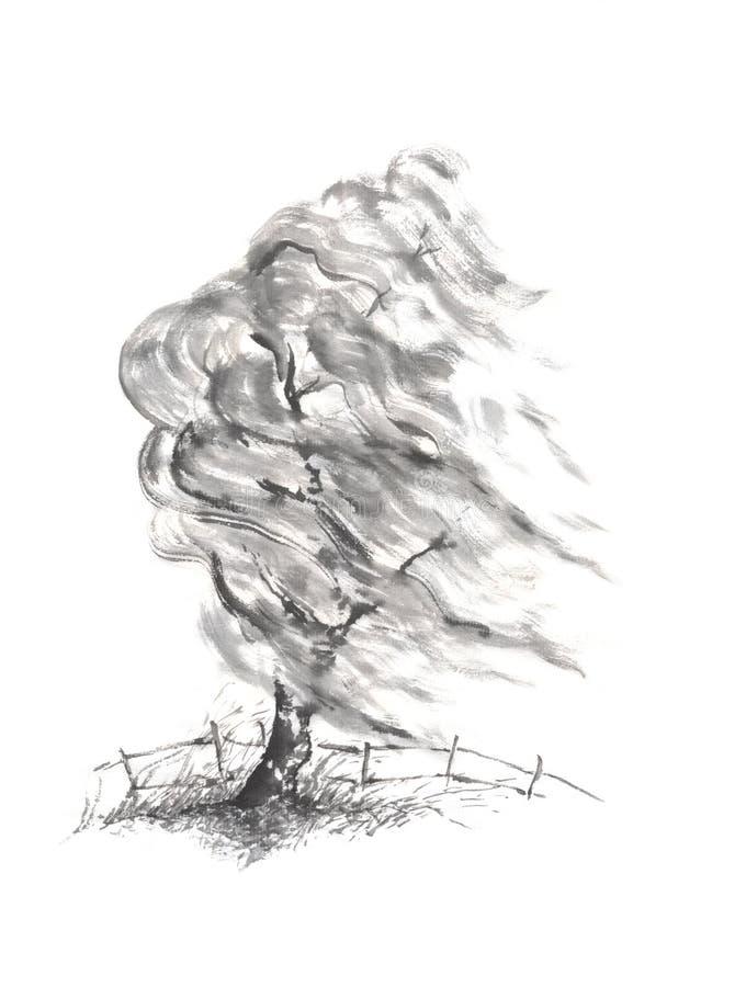 Árvore de salgueiro na pintura da tinta do sumi-e do estilo japonês do vento ilustração royalty free