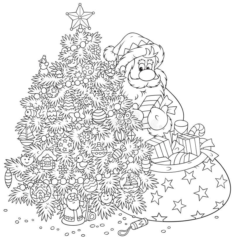 Árvore de Santa Claus e de Natal ilustração stock