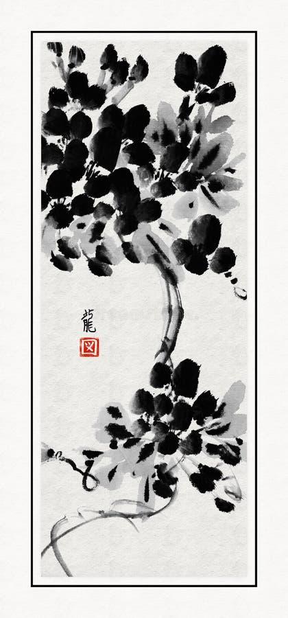 Árvore de Sumi-e ilustração stock