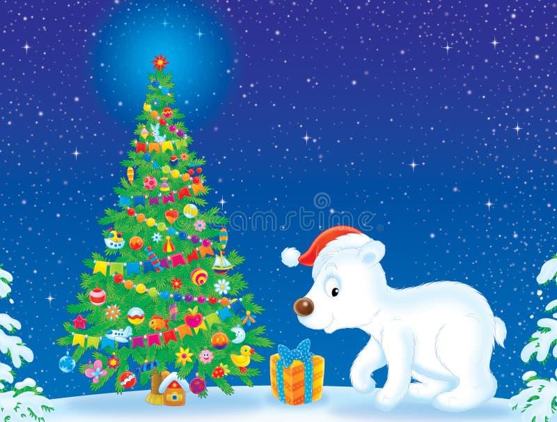Árvore de urso polar e de Natal ilustração do vetor