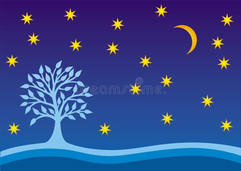 Árvore de vida e de estrelas em um céu noturno Gráficos de vetor horizontais ilustração stock