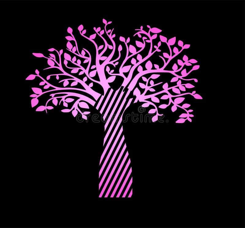 Árvore de vida de néon cor-de-rosa em um fundo preto Tatuagem bonita do esboço ilustração royalty free