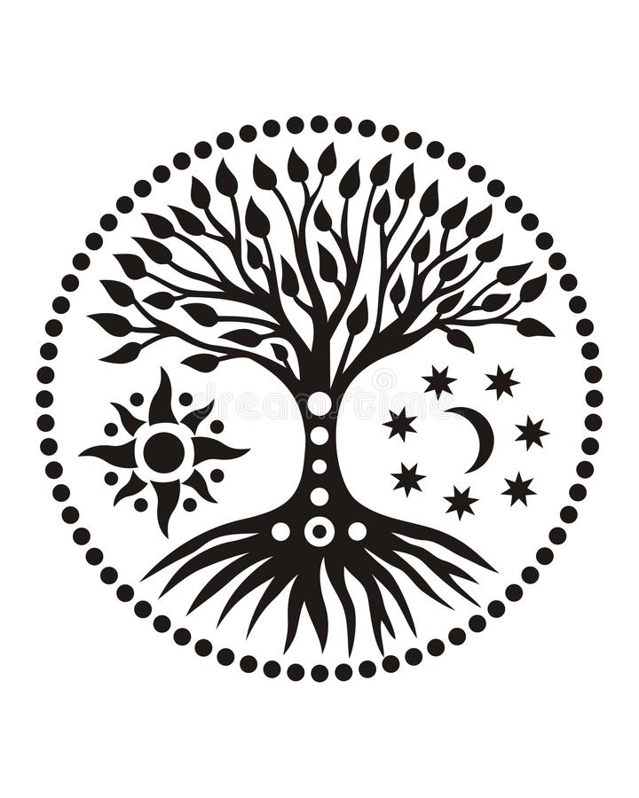A árvore de vida no círculo solar mandala Símbolo espiritual foto de stock royalty free