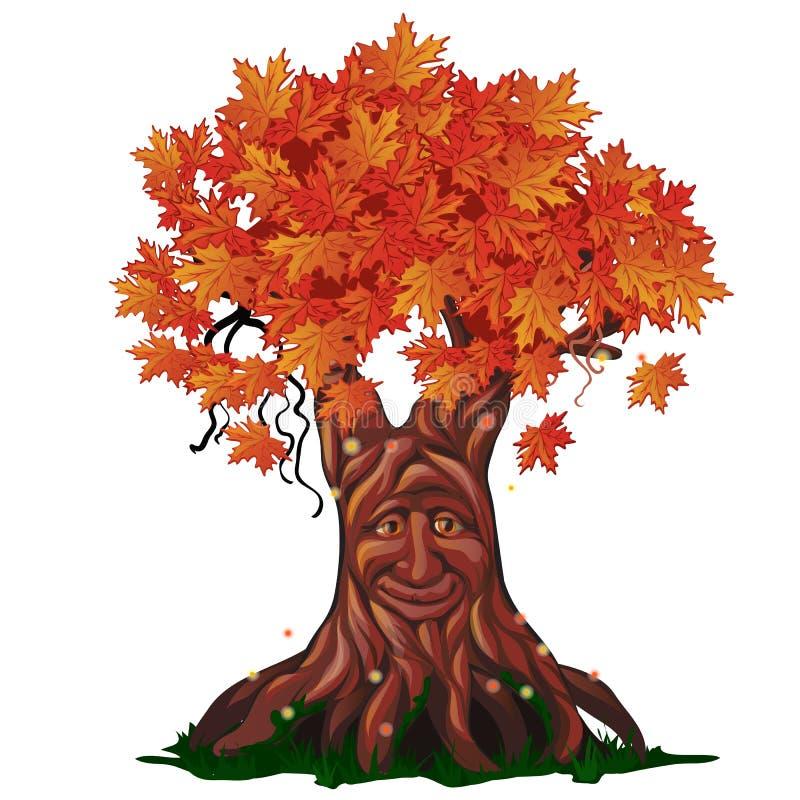 Árvore decíduo da fantasia com a cara na queda isolada no fundo branco outono dourado no vetor encantado da floresta ilustração do vetor