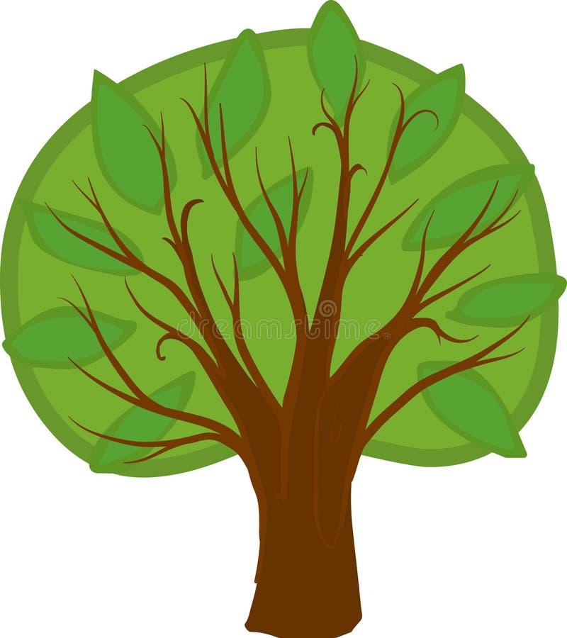 Árvore decíduo dos desenhos animados Isolado foto de stock royalty free