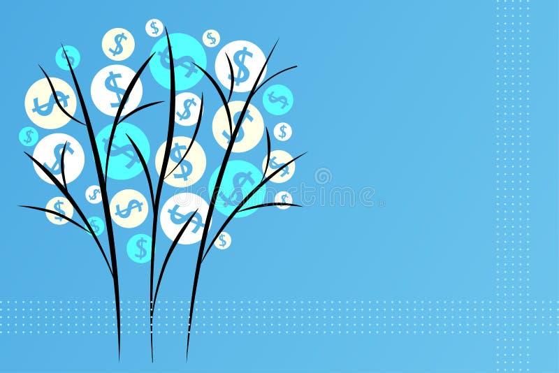 Árvore deflorescência bonita no estilo oriental em um fundo azul, em um símbolo da riqueza, na prosperidade e na boa sorte ilustração royalty free