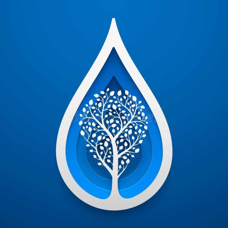 Árvore dentro da forma da gota da água Arte de papel para o Dia da Terra ilustração do vetor