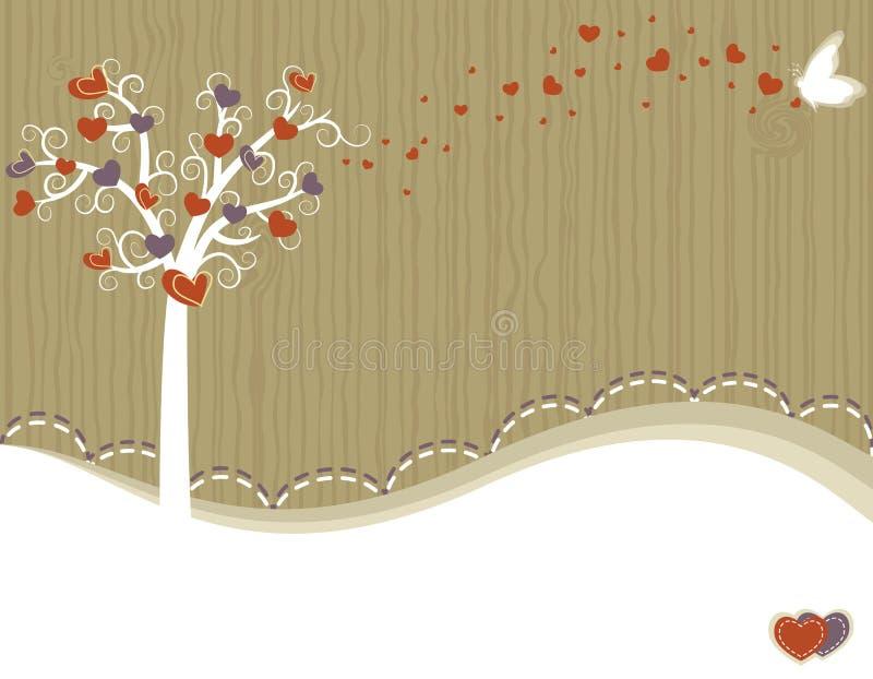 Árvore do amor - cartão ilustração stock