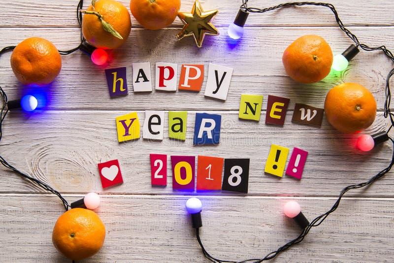 Árvore 2018 do ano novo feliz fotografia de stock