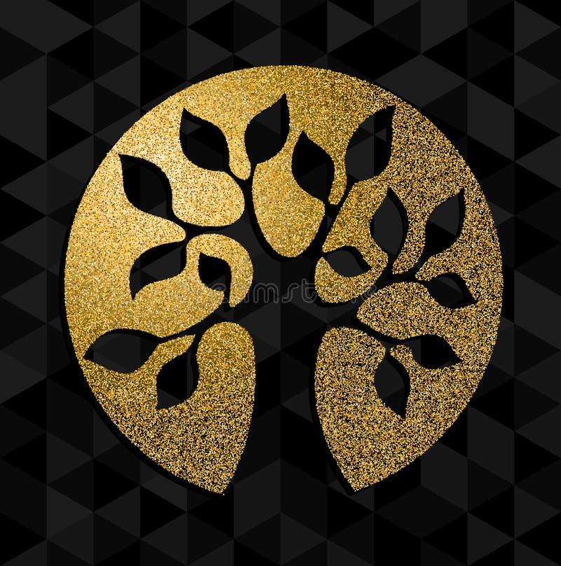 Árvore do brilho do ouro da arte do símbolo do conceito da vida ilustração royalty free