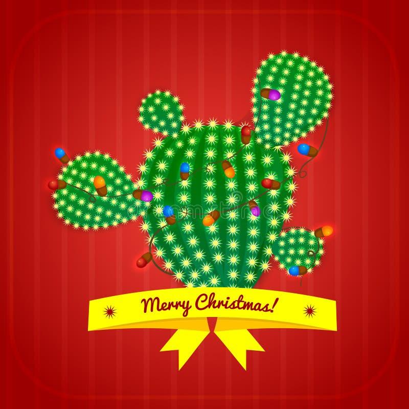 Árvore do cacto de Natal, ilustração do vetor ilustração do vetor