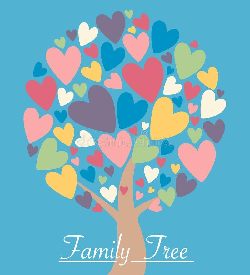 Árvore do coração da família com folhas coloridas ilustração stock