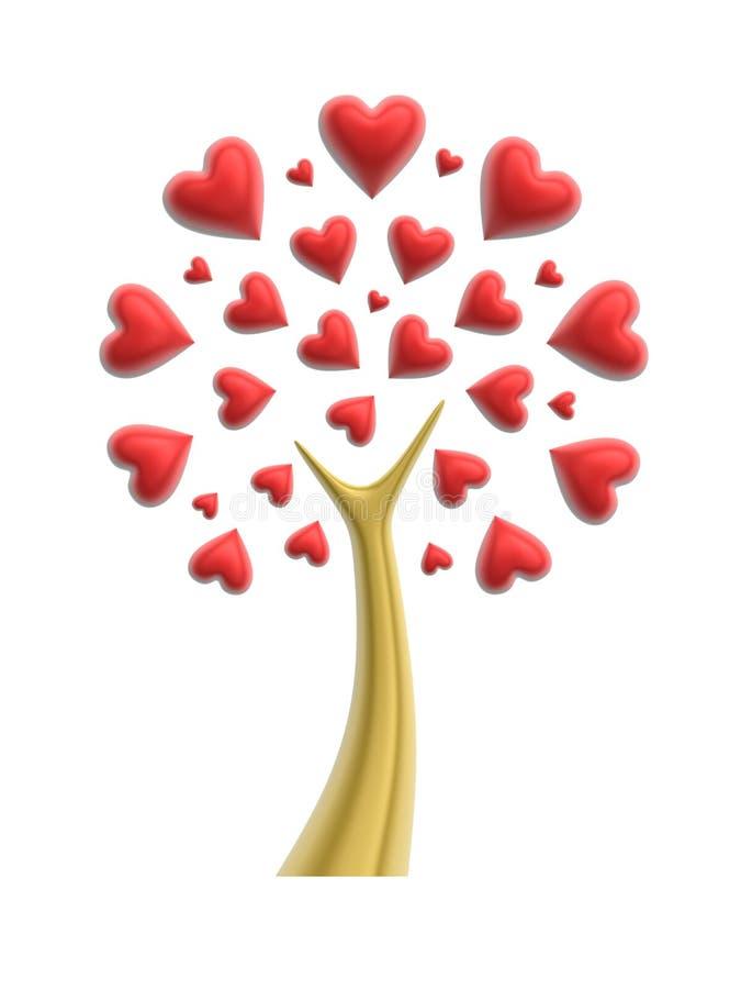 Árvore do coração do amor ilustração stock