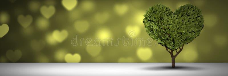 Árvore do coração dos Valentim e fundo dos corações do amor ilustração do vetor