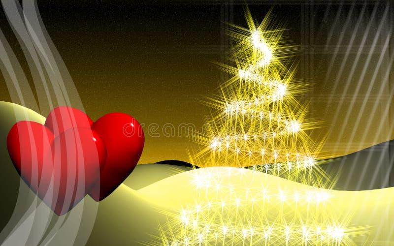 Árvore do coração e de Natal ilustração royalty free
