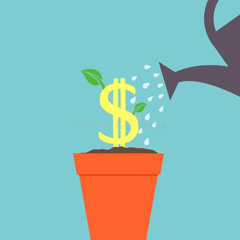 Árvore do dólar molhada ilustração stock