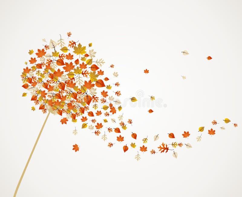 A árvore do dente-de-leão do outono sae da composição para trás ilustração stock