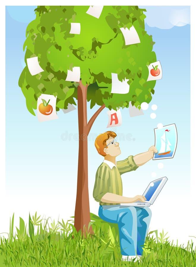 Árvore do desenhador e dos retratos ilustração stock