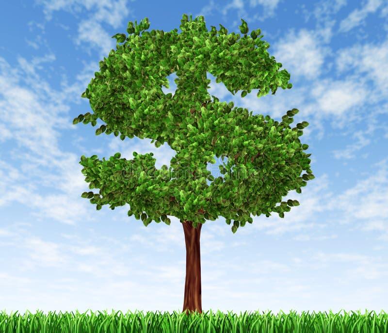 Árvore do dinheiro com crescimento co do investimento do céu e da grama ilustração do vetor