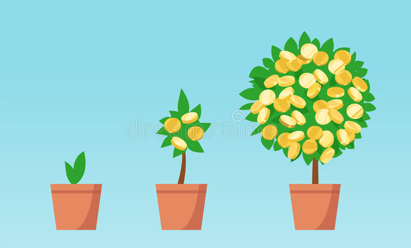 Árvore do dinheiro com crescimento das moedas ilustração do vetor