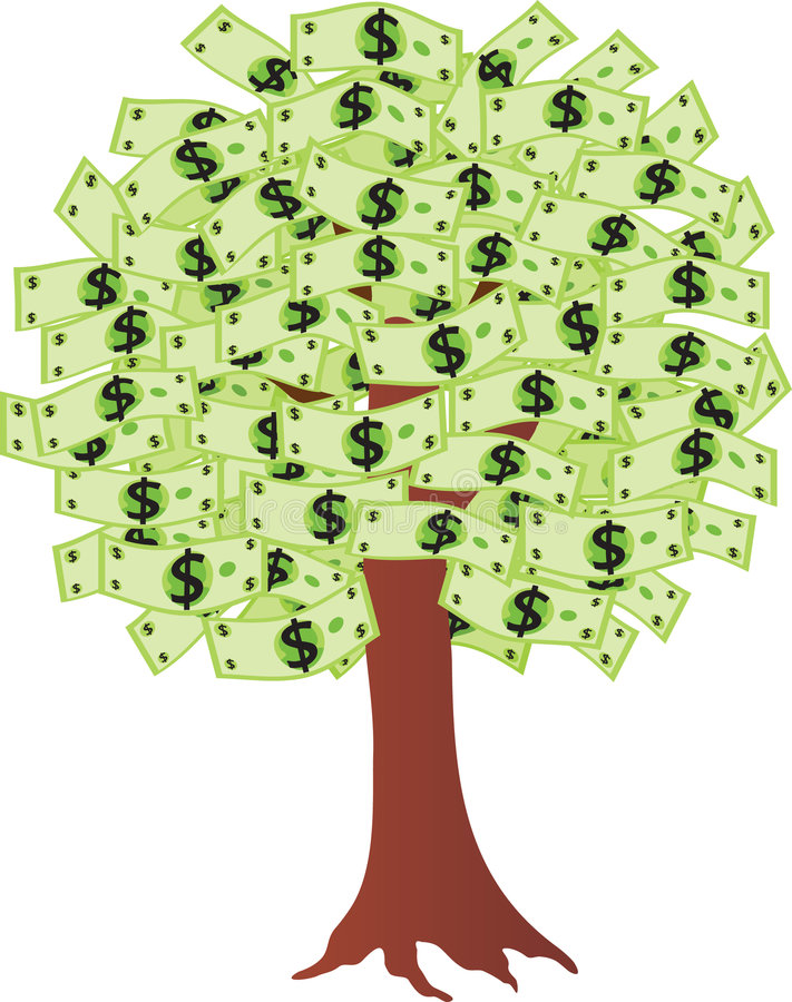 Árvore do dinheiro com dólares ilustração do vetor